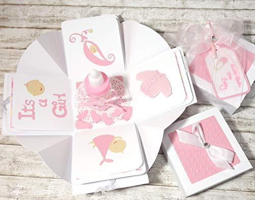 Geldgeschenk Geschenkverpackung Geschenkschachtel Geschenk zur Geburt Baby Mädchen Girl Explosionsbox handgefertigt