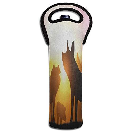Rode wijn Sets Silhouette van varken Piggy in zonsondergang Beschermende Champagne Tote Bag Fles Houder Tas Geïsoleerde Gecapitonneerde