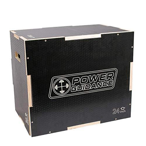 POWERGUIDANCE Caja pliométrica de Madera 3 en 1 - Ideal para Entrenamiento Cruzado -Plyo Caja de Madera, Plyo Box (#3-Negro Box 75 * 60 * 50CM)