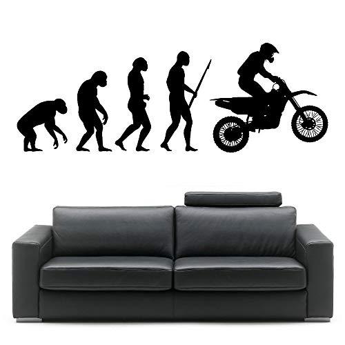 Nieuwe producten in de schappen van Darwin Evolution Man motorfiets show muurstickers art evolutie sticker vinyl slaapkamer huis behang 33.6x96cm
