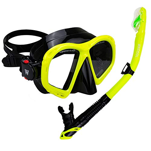 WACOOL Snorkeling Package Set for Adults AntiFog Coated Glass Diving Mask Snorkel with Silicon Mouth PiecePurge Valve and AntiSplash Guard Yellow