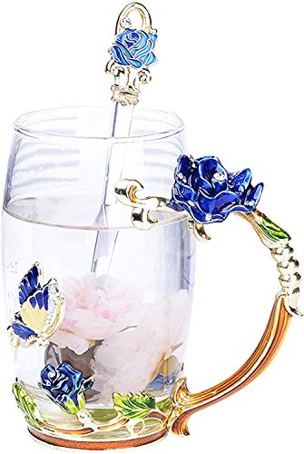 Taza de té de cristal esmaltada, con cuchara hecha a mano, sin plomo, mariposa, cristal transparente, como regalo para parejas, amigos, cumpleaños, aniversario, día de San Valentín, azul y cuchara