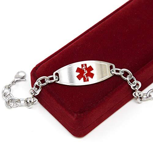 Medical Alert Bracelet for Women, Custom Engraved Medic ID, Steel 6mm O-Link Chain - Red, Free ID Card   Wrist Size 8 Inch