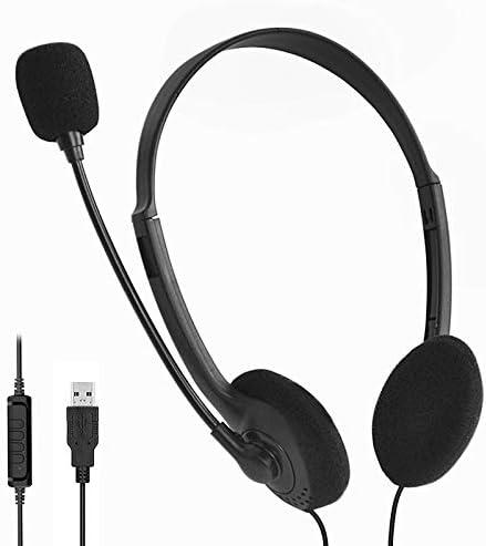 VRK Headset PC,Gaming Headset,Headset USB mit Mikrofon,Rauschunterdr/ückung und Audiosteuerung Ultra-Komfort,PC-Kopfh/örer f/ür Skype Call Center-B/ürocomputer klare Stimme