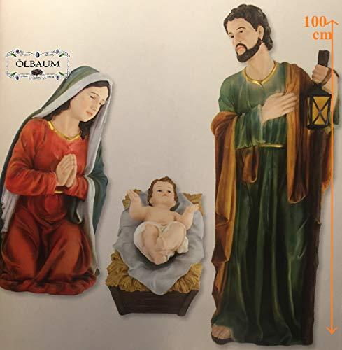 Krippenfiguren im 4-tlg. Set, Standfiguren in 100 cm, nahezu lebensgroße Ausführung der Heiligen Familie, feine Mimik, Maria, Josef und Jesus in der Krippe