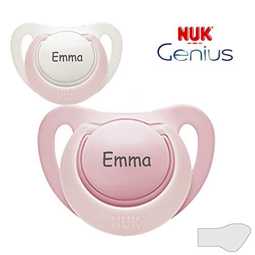 NUK Genius Namensschuller, Silikon, Größe 3, 18-36 Monate, 2 Stück Schnuller mit Namen, rosa und weiß