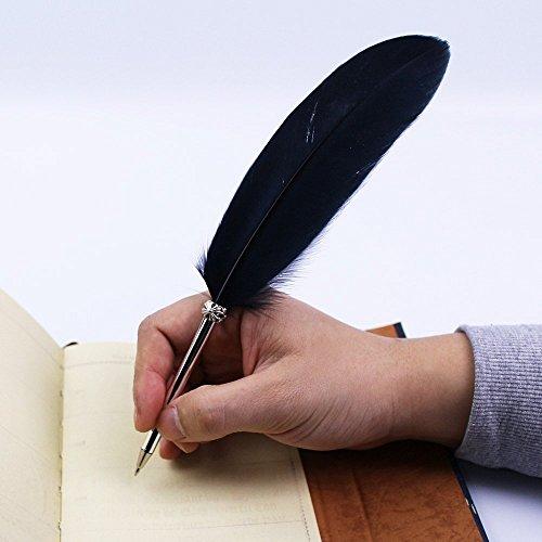 OPENDGO Feder-Kugelschreiber, Schwarze Tinte, Vintage-Feder-Kugelschreiber, raffiniert, für Schule, Schreiben, Hochzeitsgeschenk, Unterschriftenstift, Schwarz