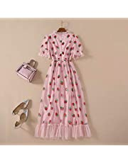 Summer Belt Strawberry Dress Ladies Sweet Long Flared Sleeves V-Neck