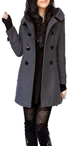 Damen Winter Herbst Mantel Steppjacke Kapuzenjacke Übergangsjacke Trenchcoat Zweireihig Wollmantel Gesteppt Parka Coat Outwear Schwarz