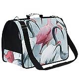 AMONKA - Transportín para mascotas, color blanco y rosa, para perros pequeños, medianos y pequeños, bolsa de transporte plegable para cachorros y cachorros con alfombrilla de repuesto cómoda