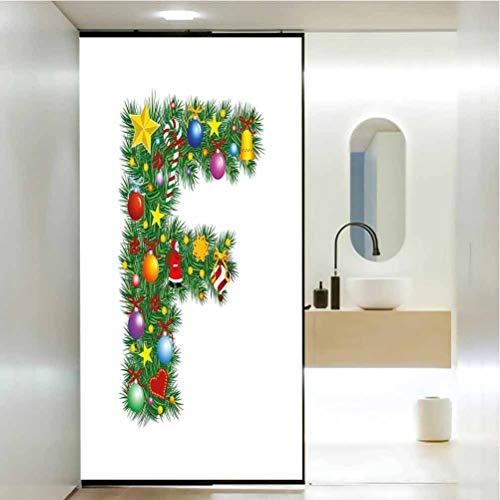 Papel estático para ventana, letra F, campanas de Navidad, con regalos, lata de colores, sala de estar, dormitorio, cocina, vestíbulo, porche, oficina, 23.6 x 35.4 pulgadas