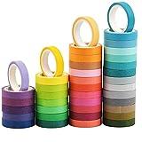 Cinta Adhesiava Washi Cinta Decorativa Cinta adhesiva decorativa de varios patrones Washi Juego de cintas decorativas manualidades 40 colores para manualidades y envolver regalos, decoración