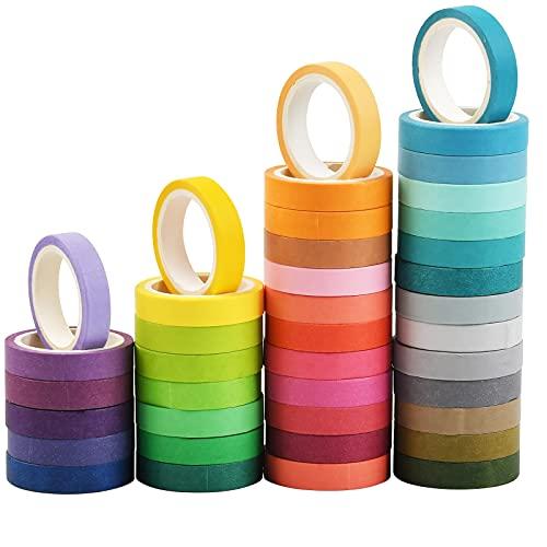 Washi Tape, Masking Tape Pastel 40 Rouleaux, 8mm Ruban Adhésif Décoratif, Rainbow Masking Tape, Ruban Adhésif en Washi pour Journal, Ruban Adhésif Décoratif pour Artisanat Muticolours