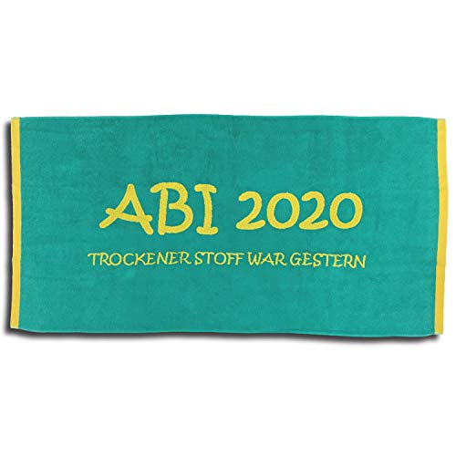 Jacquard Strandlaken Strandtuch ABI 2020 Türkis Lime Abitur Geschenk 80 cm x 160 cm