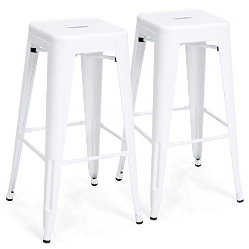 Best Choice Products 30in Metal Modern Industrial Bar Stools w/Drainage Holes for Indoor/Outdoor Kitchen, Island, Patio, Set of 2, White