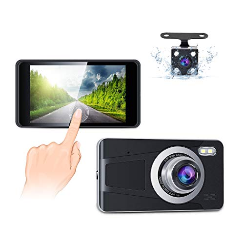 Dual Dash Cam 4' Touch Screen Full HD 1080P Car Driving Recorder with Backup Camera Night Vision 170° Wide Angle,G-Sensor,Loop Recording,Parking Monitor and Motion Detection Accfly