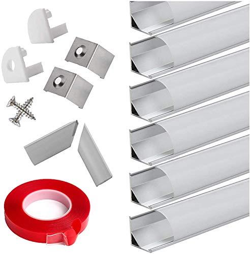 Profili per Strisce LED 45° - 6x1MT Profilo Alluminio LED per Strisce LED con Tappo Laterale Terminale,Clip di Montaggio,Copertura Opale …