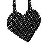 N/F Borsa di Tote in Rilievo di Perle acriliche tessute a Mano a Forma di Cuore Borsa di Perle d'Amore amorevole 20 * 25 CM