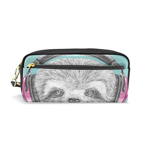 Leuke luiaard met koptelefoon potlood Case Pen Box zak zak school briefpapier benodigdheden Travel cosmetische make-up tas