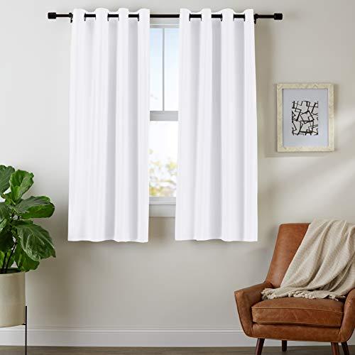 Amazon Basics Room Darkening Blackout Window Curtains with Grommets - 42 x 63-Inch, White, 2 Panels