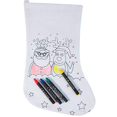 Lote 20 Calcetín para Colorear diseño Navidad, con 4 Ceras Cada Bolsa....