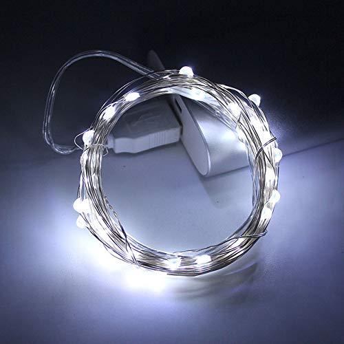 WSYYWD Ghirlanda a LED con luce argentata ghirlanda di filo d'argento per interni natalizi Decorazione di Capodanno Bianco 5M 50 LED