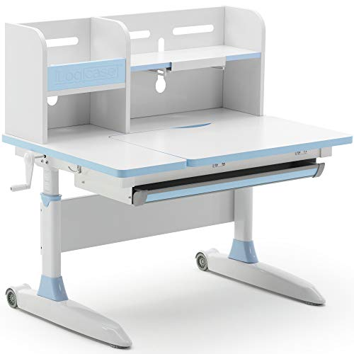 Ilogicase Kids Study Desk | Height Adjustable Children Table with Book Holder Stand and Drawer Storage | Ergonomic Desktop for Writing, Drawing and Painting | Home School use (Kids Desk 603, Blue)…