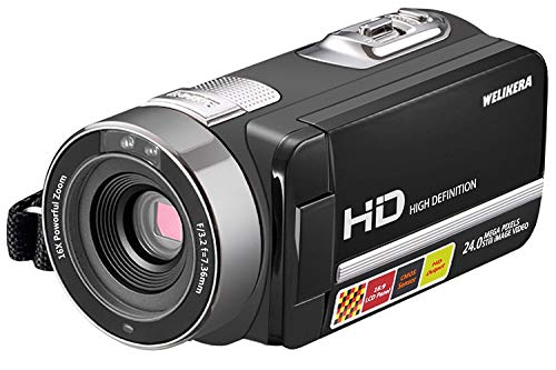 """Video Camera Camcorder, WELIKERA IR Night Vision Remote Control Handy Camera, HD 1080P 24MP 16X Digital Zoom Video Camcorder with 3.0"""" LCD and 270 Degree Rotation Screen"""