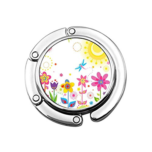 Sol Mariposas Libélula Flores Gancho para Monedero Colgador Plegable para Bolso Colgador Largo para Bolso para Mesa de Escritorio PC