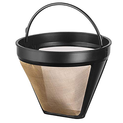 NRP Taller #4 Gold-tone Permanent Coffee Filter 12-cup Compatible for KRUPS SAVOY, Braun & DeLonghi Drip Coffeemaker