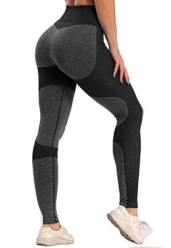 FITTOO Leggings Sin Costuras Mujer Pantalon Deportivo Alta Cintura Yoga Elásticos Fitness Seamless #1 Negro Medium