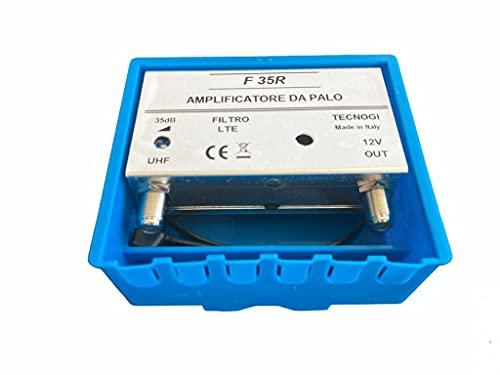 Vsnetwork Amplificador antena TV de mástil con filtro Lte/4G, ganancia máxima 35dB ajustable, amplificador antena TV 1 entrada UHF, amplificador