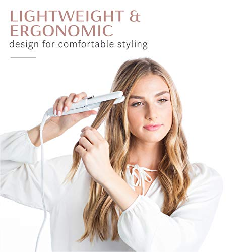 T3 - SinglePass Compact Styling Iron (White & Rose Gold) | Custom Blend Ceramic + Ionic Flat Iron for Hair Straightening and Curling | Travel Curling Iron and Straightener for Hair Styling | 0.64 lb.