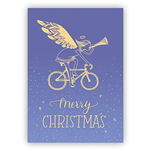 Lila gekleurde designer kerstkaart met trompetterende engel op fiets: Merry Christmas • Kerstwenskaarten incl. enveloppen voor Nieuwjaar, oudejaarsavond voor familie, vrienden, collega's van het bedrijf 1 Weihnachtskarte