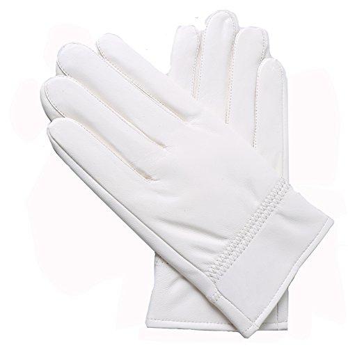 Yosang Herren Weiches echtes Lammleder -Handschuh -Winter-warme Polizist Jagd weiß