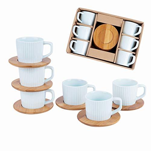 SOPRETY kaffeetassen Set mit Untertasse für 6 Personen, Espressotasse aus Keramik und Bambus Untersetzer (12-TLG), für Tee Kaffee Espresso, 90 ml, spülmaschinenfest (Blau)