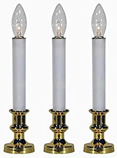 "Window Candles Flameless Battery Operated GE Clear Bulb with White Stick and Gold Base 3 Pack 9"" Tall"