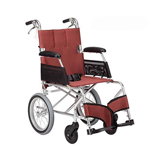 SLRMKK Tragbarer klappbarer Rollstuhl, rollstuhlklappbarer Leichter Rollstuhl Ultraleichtes kleines Rad Old Man Trolley Aviation Titan Aluminium Rollstuhl, A-Rot