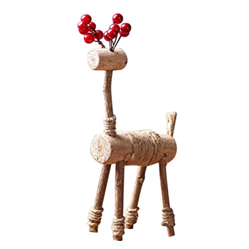HEALLILY Christmas Reindeer Sculpture Deer Figurine Statue Home Office Decor Statues Wood Reindeer Decor