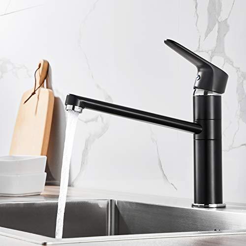 Auralum Grifo de cocina giratorio 360°, grifo mezclador monomando de alta presión, color negro