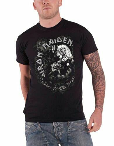 JINGQ Iron Maiden T-Shirt S-5XL Heavy Number of The Beast Grey Tone Black S