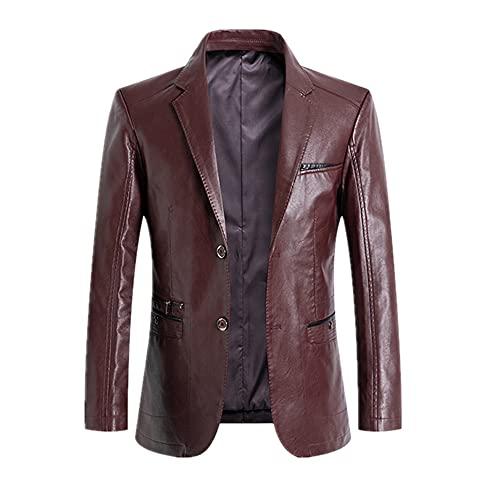 Pop Spring Cuero Hombres Blazer Casual Cuero Otoño Color Hombres, granate, XL