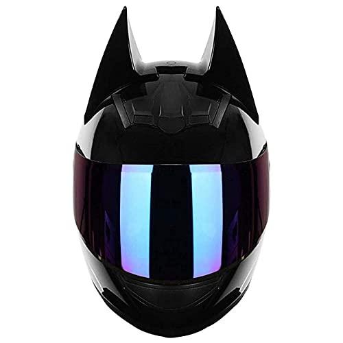 qwert Casco completo de motocicleta con orejas de gato, casco de cara completa para verano, para hombres y mujeres, con certificado DOT (54-62 cm)