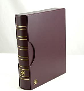 Lighthouse Red/Burgundy Classic Grande 3-Ring Binder with Slipcase Storage Case for Coins, Stamps, Currency, Bank Notes, Documents, and Other Collectibles - Pages Sold Separately