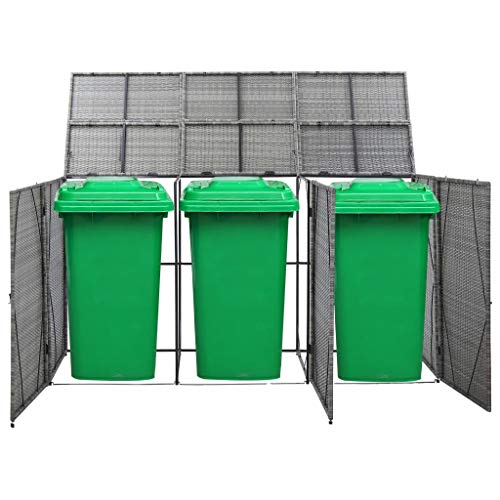 Festnight Triple Wheelie Bin Shed, Storage Shed with Lifting Lids, Easy to Move, Water- and Rot-resistant Anthracite 229x78x120 cm Poly Rattan