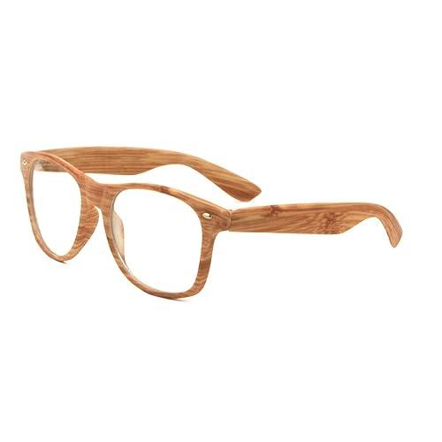 f66a0c421e Unisex Retro Classic Glasses Wood Pattern Frame Clear Or Dark Lens