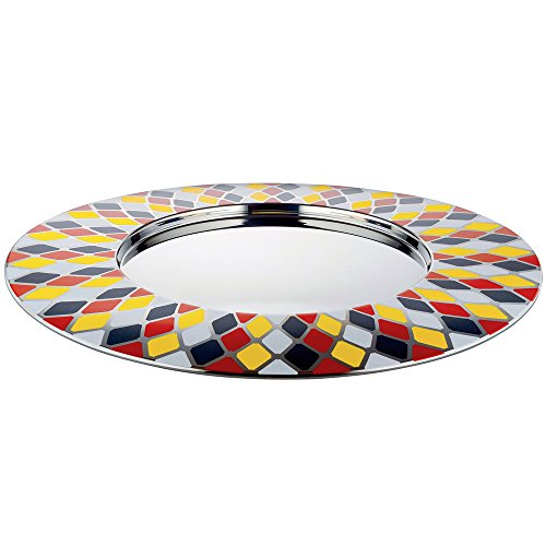 Alessi Circus Tablett, rund, Edelstahl, Silber, 48 x 48 x 1 cm