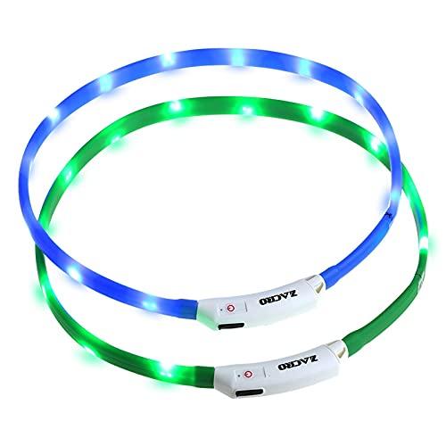 Zacro Collare di Cane LED, Collare per cane LED Lampeggiante, Collare di Sicurezza Ricaricabile USB per Animali con 3 Modalità d'ardore e Misura Regolabile Adatto per Tutti i Cani, Gatti (verde e blu)