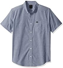 RVCA Men Thatll Do Stretch Short Sleeve Shirt Blue Medium