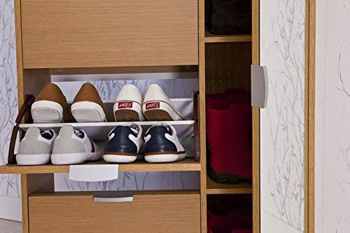 TOPKIT | Mueble Zapatero con espejo AMAZONAS 63ab | Medida 175 x 81,5 x 28 cm | Armario Zapatero con 4 puertas abatibles + 1 vertical con espejo | Organizador de Zapatos | Roble